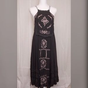 FREE PEOPLE Embroidered String Boho Dress